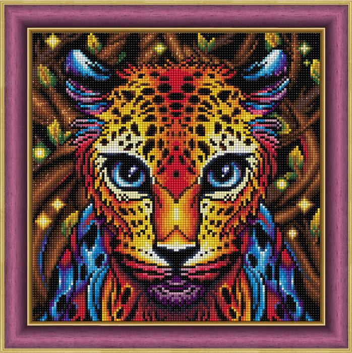 Set goblen cu diamante, fara sasiu, Leopard curcubeu 1