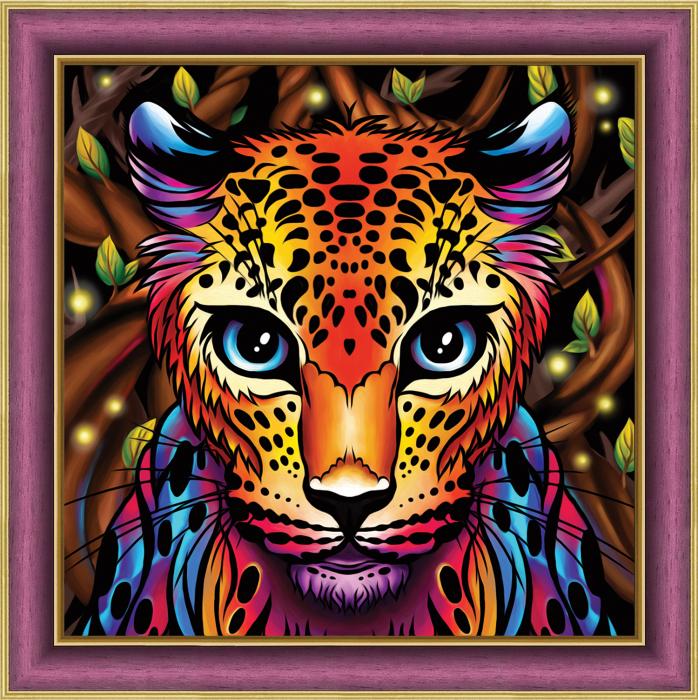 Set goblen cu diamante, fara sasiu, Leopard curcubeu 0