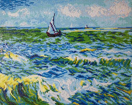 Goblen cu diamante,  Peisaj marin - Van Gogh 45x55 cm [0]