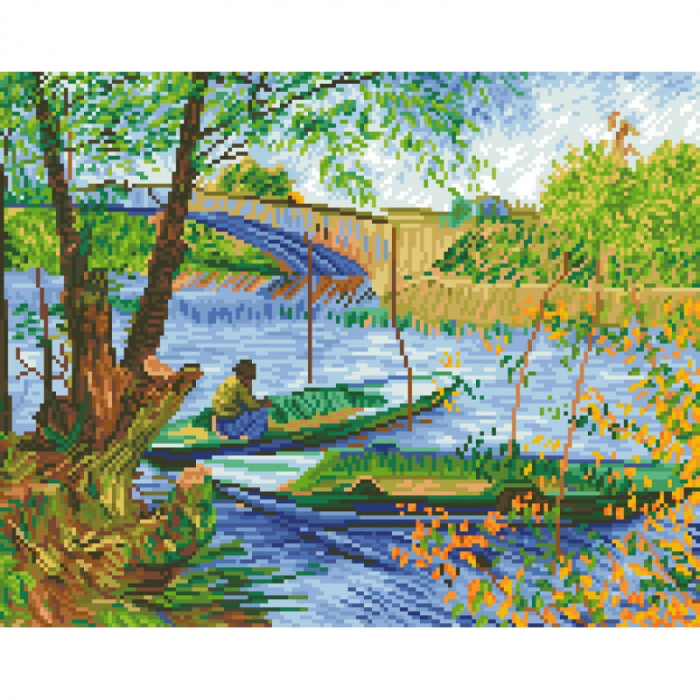 Set goblen cu diamante, fara sasiu, Primavara la pescuit(Van Gogh), 40x50 [0]