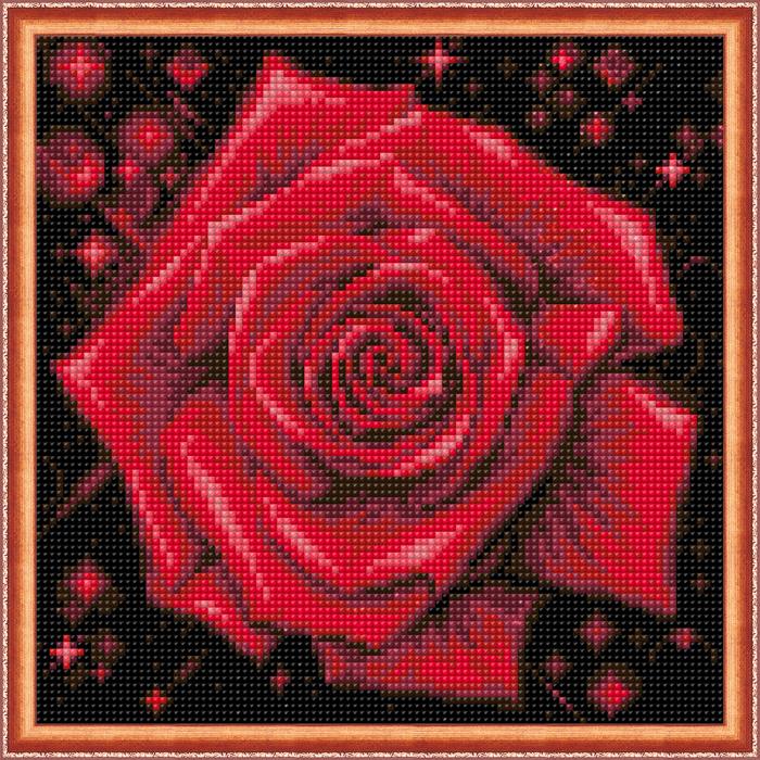 Set goblen cu diamante, fara sasiu, Trandafir stralucitor [1]