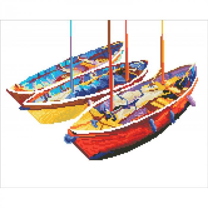 Goblen cu diamante, Trei barci pe apa, 38x47 cm [1]