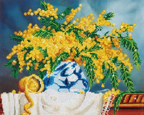 Set goblen cu diamante, fara sasiu, Vaza cu Flori Galbene, 41x51 cm [0]
