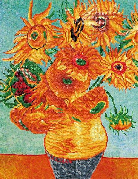 Goblen cu diamante,  Vaza cu flori - Van Gogh 71x56 cm  I Goblenuri cu diamante I dego.ro [0]