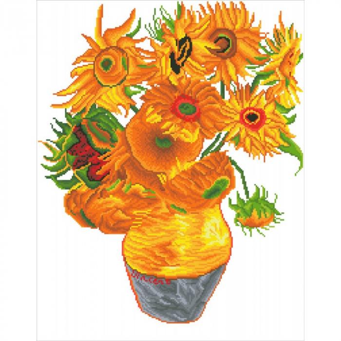 Goblen cu diamante,  Vaza cu flori - Van Gogh 71x56 cm  I Goblenuri cu diamante I dego.ro [1]