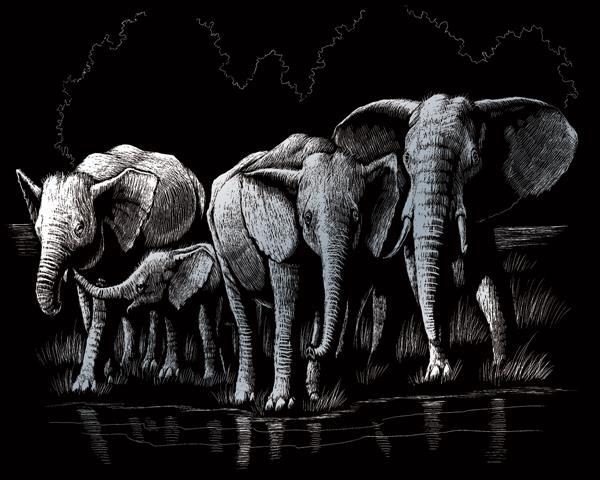 Set gravura folie argintie, Familie de elefanti [0]