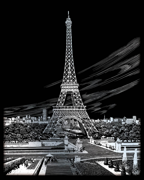 Set gravura folie argintie, Turnul Eiffel 1