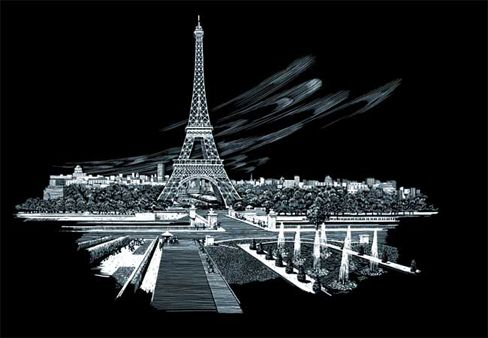 Set gravura folie argintie, Turnul Eiffel [1]