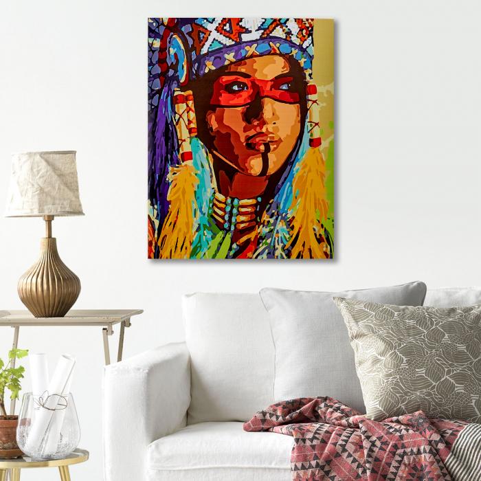 Pictura pe Numere, cu sasiu, Amerindianca, 40x5o 4