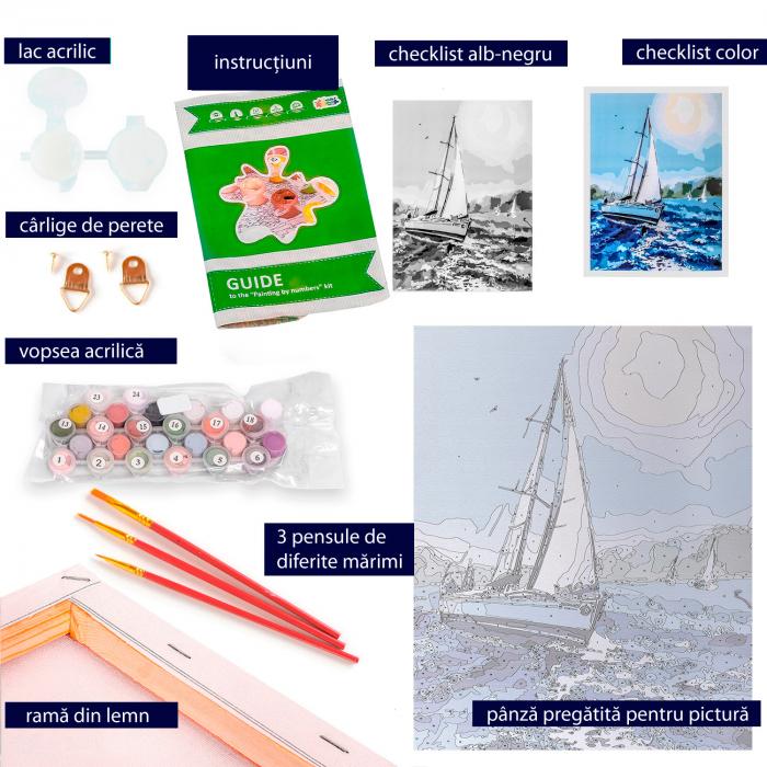 Set pictura pe numere, cu sasiu, Barca pe mare 3