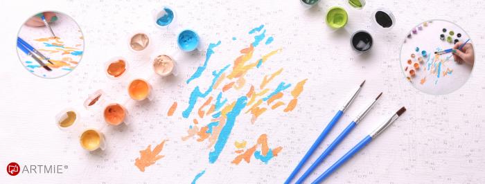 Pictura pe numere, cu sasiu, Buchet de flori, 50x50cm [1]