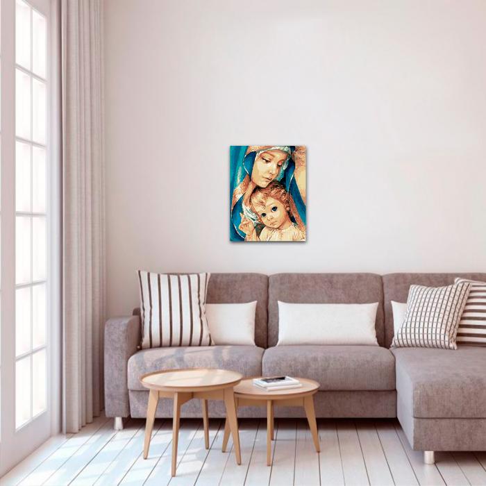 Set pictura pe numere, cu sasiu, Fecioara Maria, 40x50 cm 2