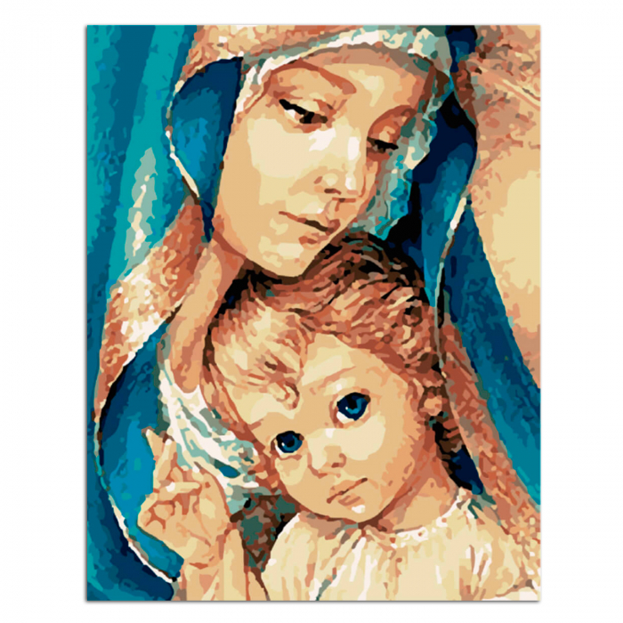 Set pictura pe numere, cu sasiu, Fecioara Maria, 40x50 cm 1