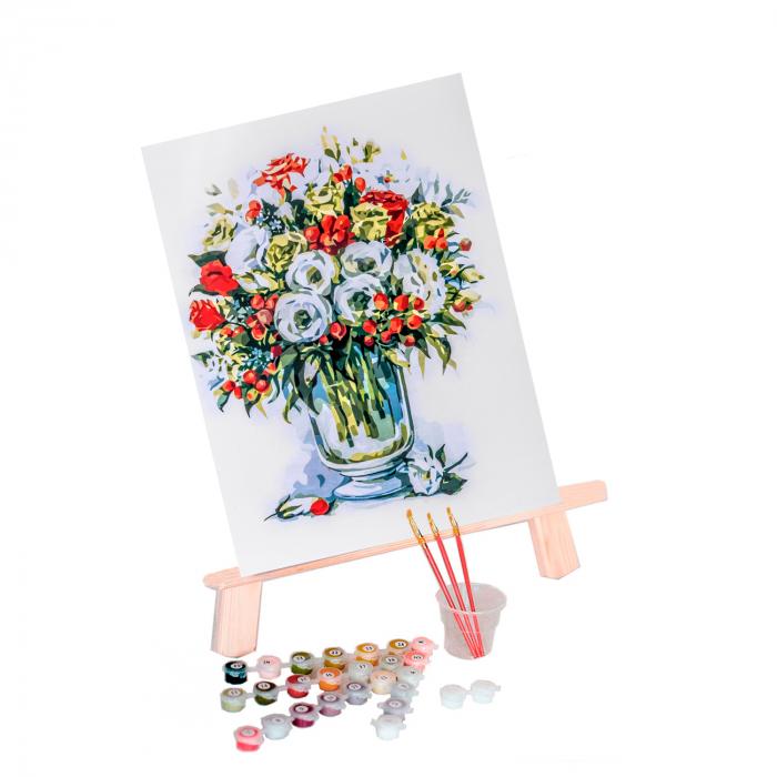 Set pictura pe numere, cu sasiu, Buchet de trandafiri [0]