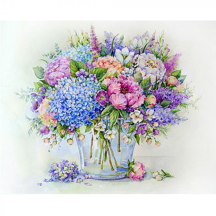 Pictura pe numere, cu sasiu, Buchet de vara cu hortensie albastra 0