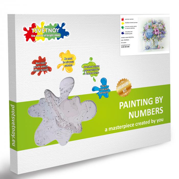 Pictura pe numere, cu sasiu, Buchet de vara cu hortensie albastra 4