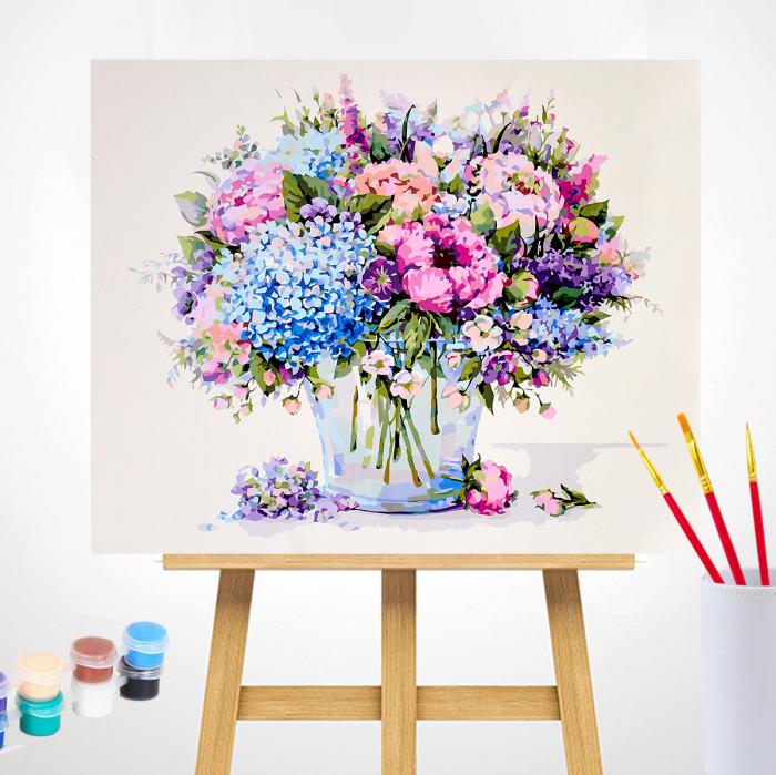 Pictura pe numere, cu sasiu, Buchet de vara cu hortensie albastra 1