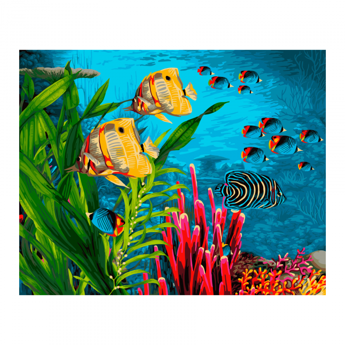 Set pictura pe numere, cu sasiu, Coral Reef, 40x50 cm 0