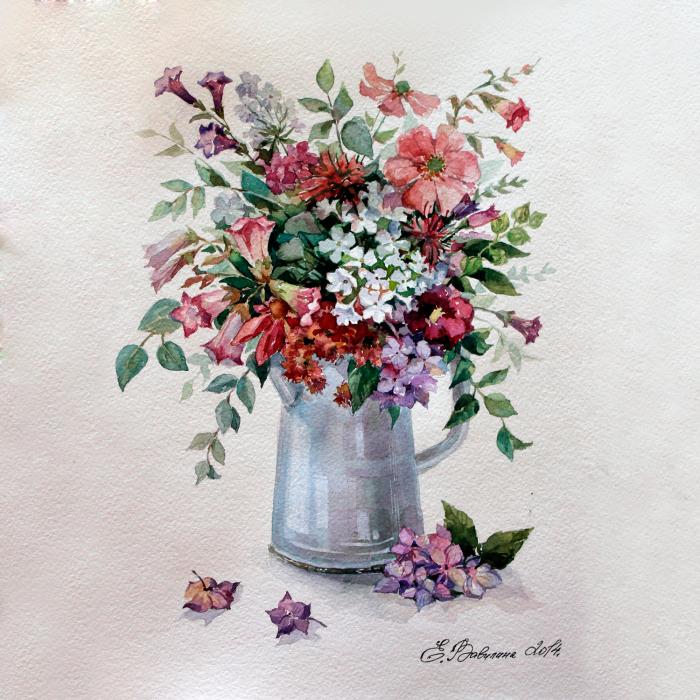 Set pictura pe numere, cu sasiu, Flower Rhapsody, 40x50 cm 1