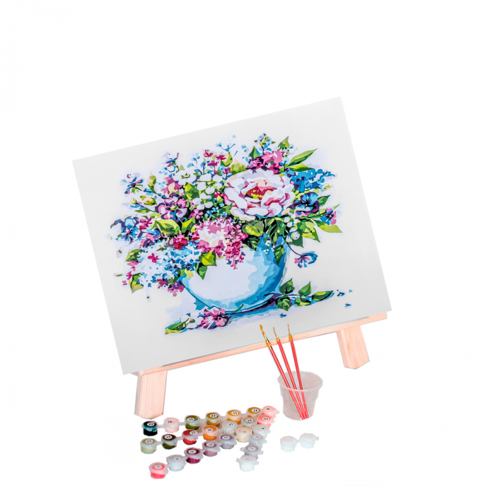 Set pictura pe numere, cu sasiu, Flori delicate 1