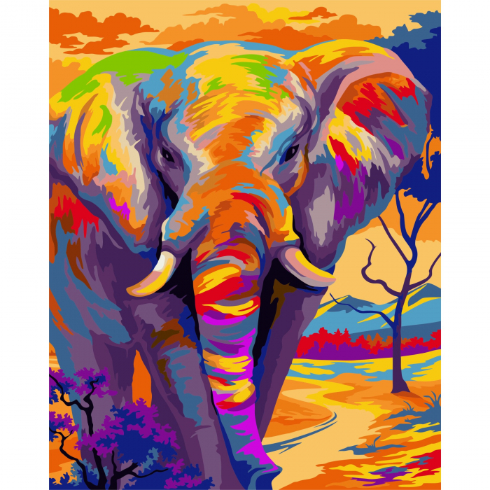 Set pictura pe numere, cu sasiu, Elefant 0