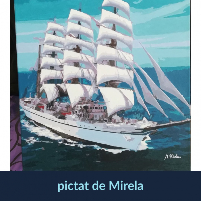 Set pictura pe numere, cu sasiu, Corabie alba [1]
