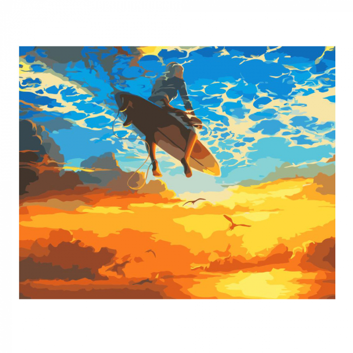 Set pictura pe numere, cu sasiu, Surf, 40x50 cm 0