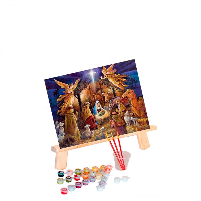 Set pictura pe numere, cu sasiu, Nasterea Pruncului, 40x50 cm 0