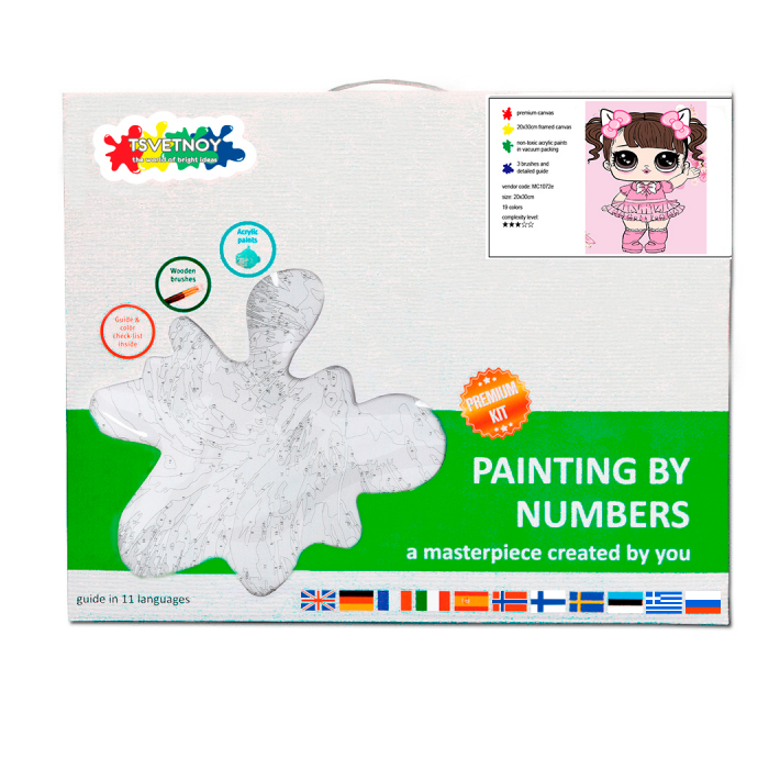 Pictura pe numere, cu sasiu, Fetita in roz 20x30cm 4