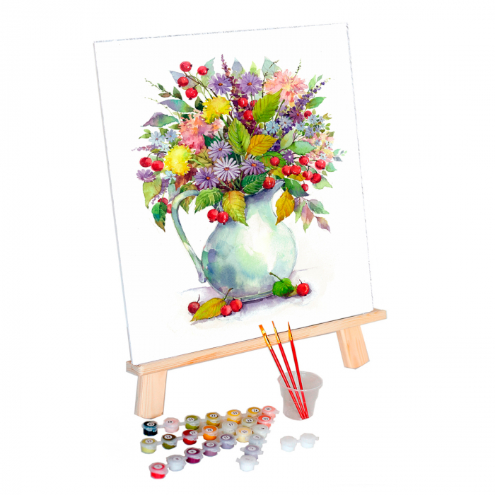Set pictura pe numere, cu sasiu, Flori de camp 2, 40x50 cm 0