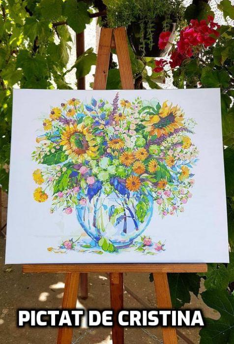 Set pictura pe numere, cu sasiu, Flori de Camp [9]