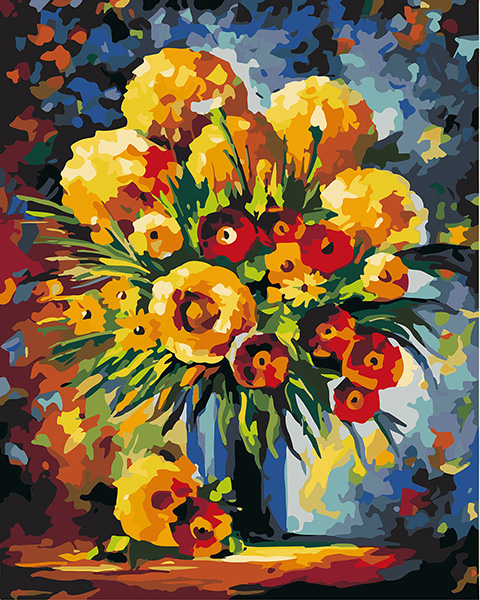 Pictura pe numere Flori galbene si rosii [0]