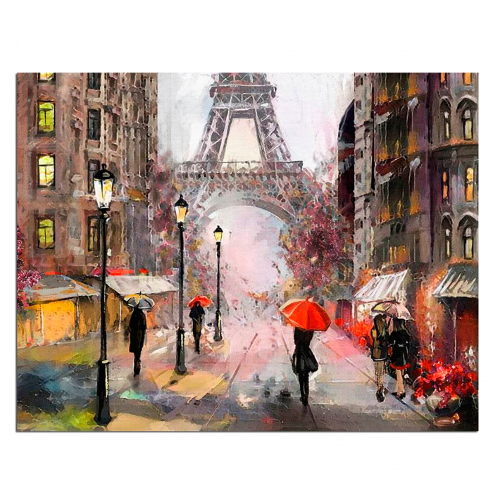 Pictura pe numere, cu sasiu, Paris in the Rain, 40x50 cm 1