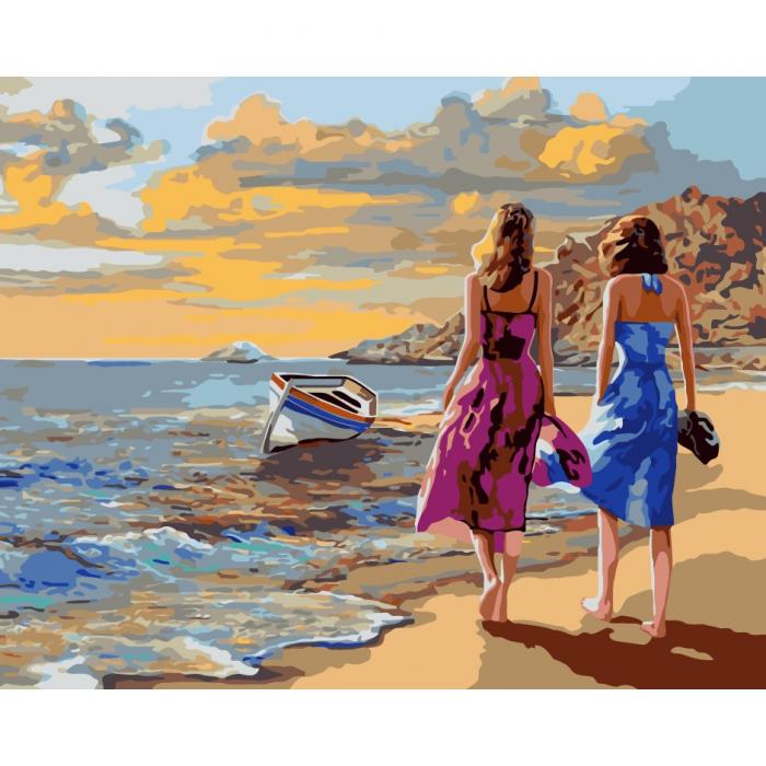 Set pictura pe numere, cu sasiu, Plimbare pe plaja, 40x50 cm 0