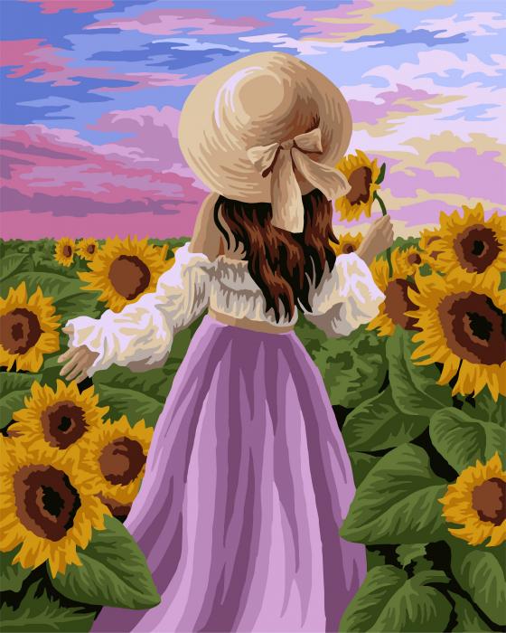 Set pictura pe numere, cu sasiu, Lan de floarea soarelui 0