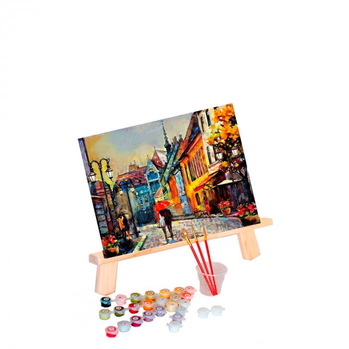 Set pictura pe numere, cu sasiu, European Town, 40x50 cm 0