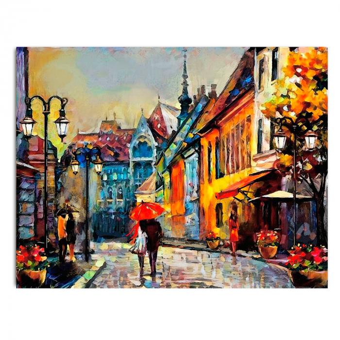 Set pictura pe numere, cu sasiu, European Town, 40x50 cm 1