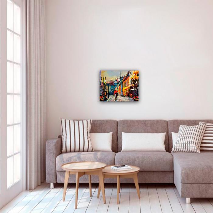 Set pictura pe numere, cu sasiu, European Town, 40x50 cm 2