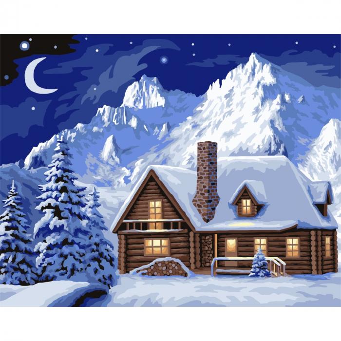 Set pictura pe numere, cu sasiu, Iarna 0