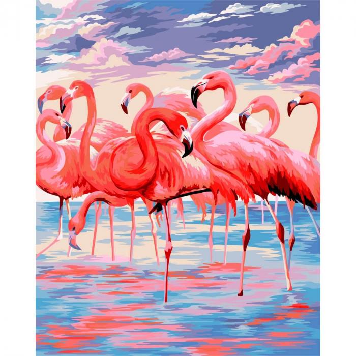 Set pictura pe numere, cu sasiu, Flamingo, 40x50 cm 0
