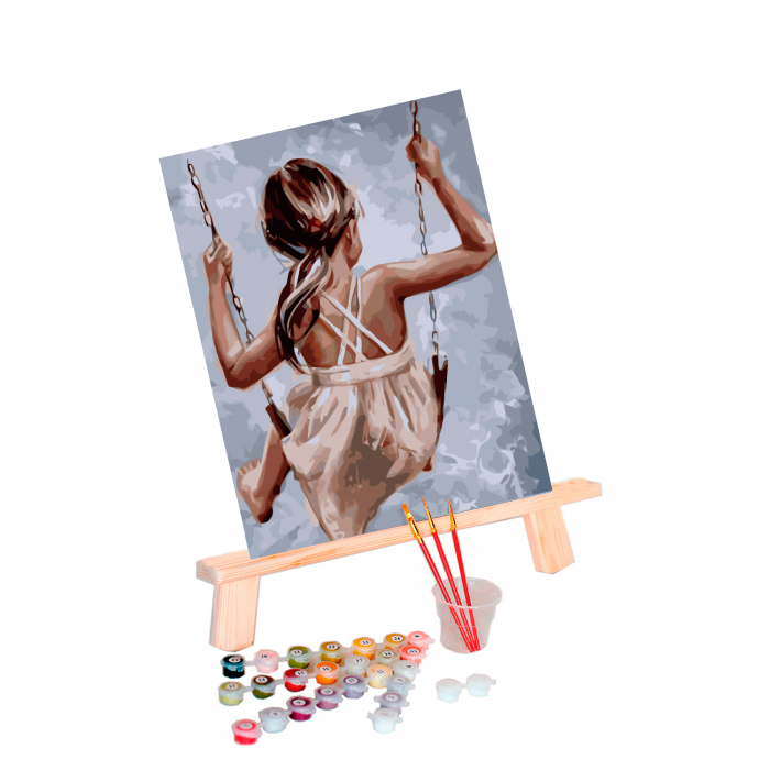 Set pictura pe numere, cu sasiu, Leagan, 40x50 cm 0