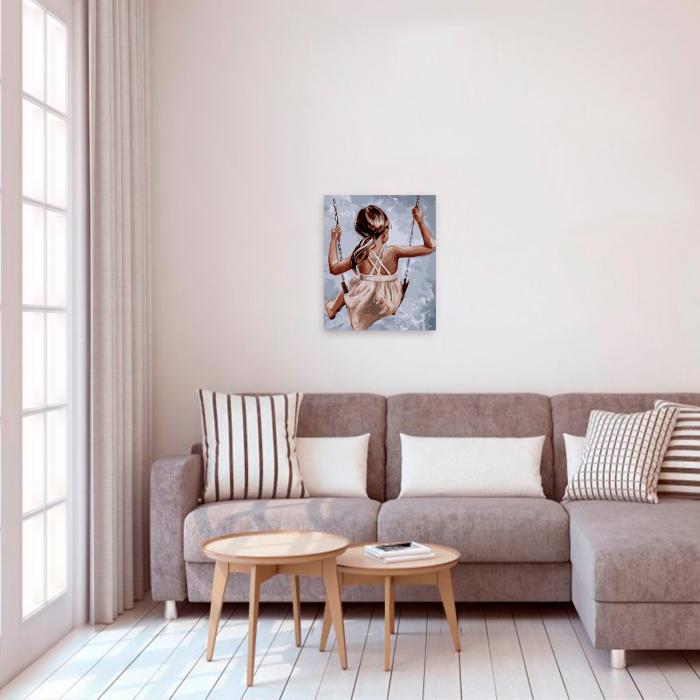 Set pictura pe numere, cu sasiu, Leagan, 40x50 cm 2