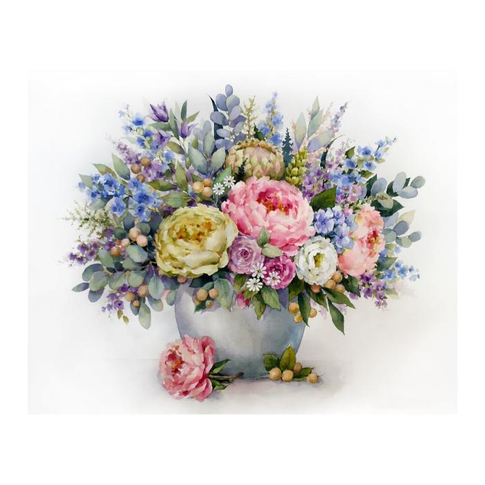 Pictura pe numere, cu sasiu, Frumusete florala, 40x50 cm 0