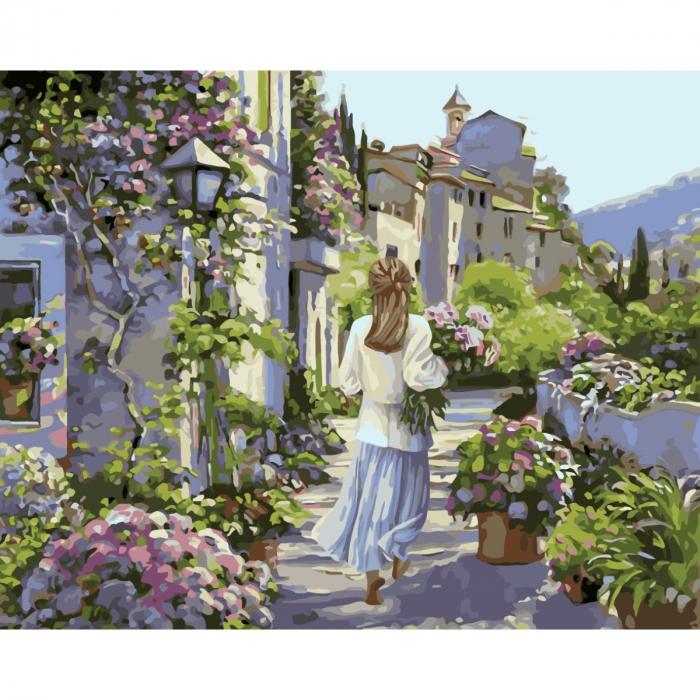 Set pictura pe numere, cu sasiu, Fata cu flori 0