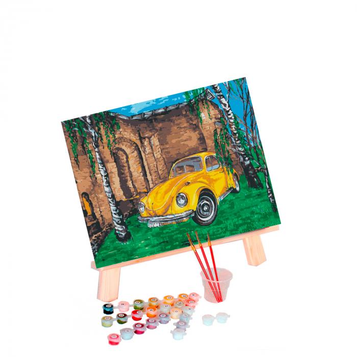 Set pictura pe numere, cu sasiu, Masina galbena 1