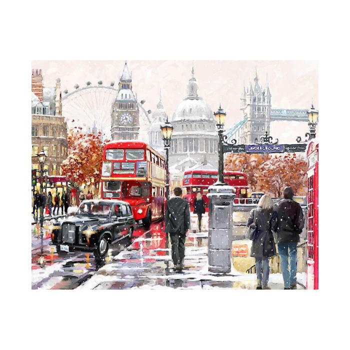 Pictura pe numere, cu sasiu, London Street, 40x50 cm 0