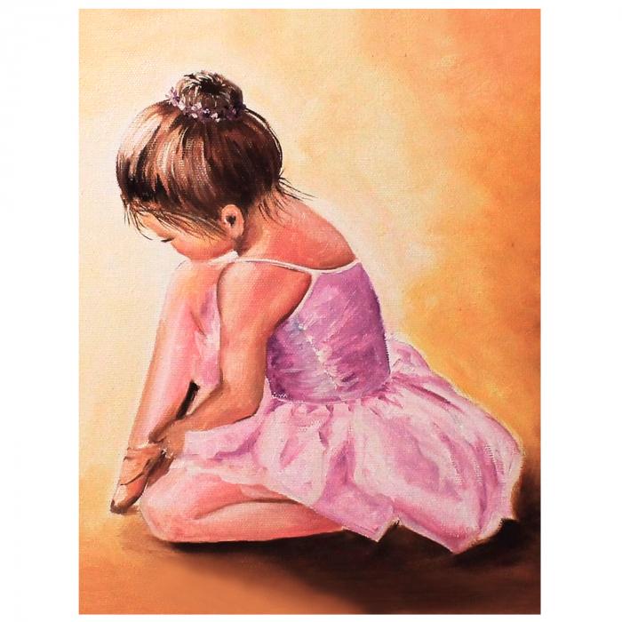 Set pictura pe numere, cu sasiu, Balerina baby, 40x50 cm 2