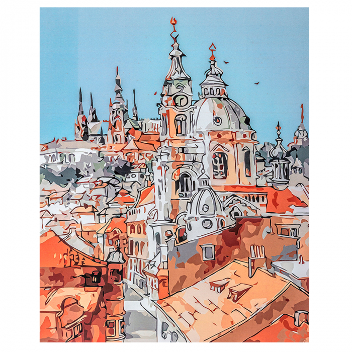 Set pictura pe numere, cu sasiu, Towers of the Old Town, 40x50 cm 1