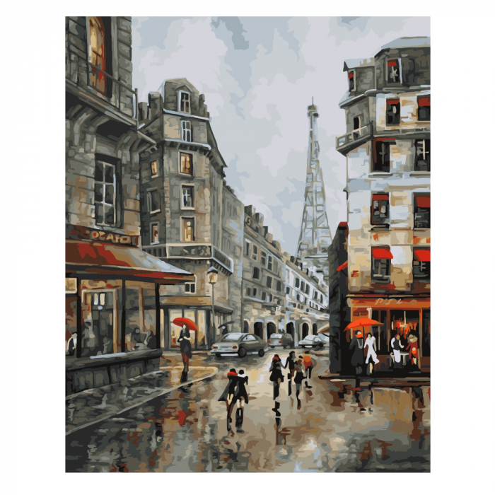 Set pictura pe numere, cu sasiu, Paris 0