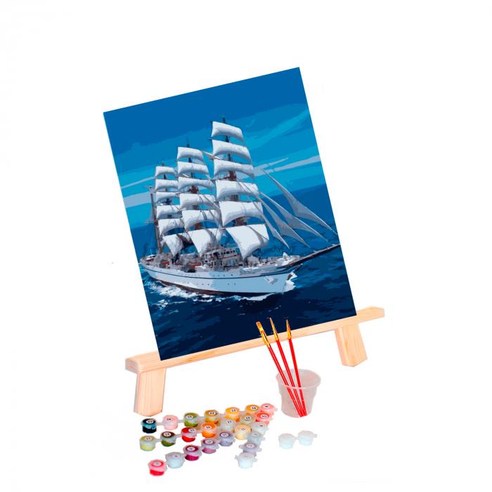 Set pictura pe numere, cu sasiu, Snow-white Sailboat, 40x50 cm 0